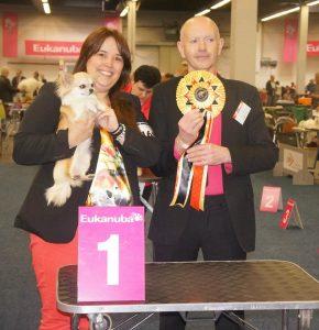 Bridget winning Best of Breed at the Dortmund show fron juniorclass under judge Mr Henrie Stanley